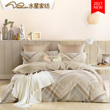 Mercury textile peached cotton four piece Nordic cotton bedding simple European style double bed 1.5/1.8m