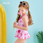 Disha Kids Girls Summer 2017 new children swimsuit fashion cute baby one-piece stamp