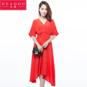 The new 2017 Korean summer V collar sleeve irregular hem dress in red dress waist waist