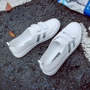 2017 new summer white shoes, canvas shoes all-match shallow mouth lazy Korean Velcro white shoes casual shoes