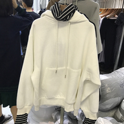 Autumn and winter in the Korean version of the ulzzang two high collar and false thickened loose sleeve head cashmere Hoodie female students tide