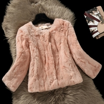 2016 new MS Haining fur coats for fall winter real Rex rabbit fur short Korean t clearance specials jacket