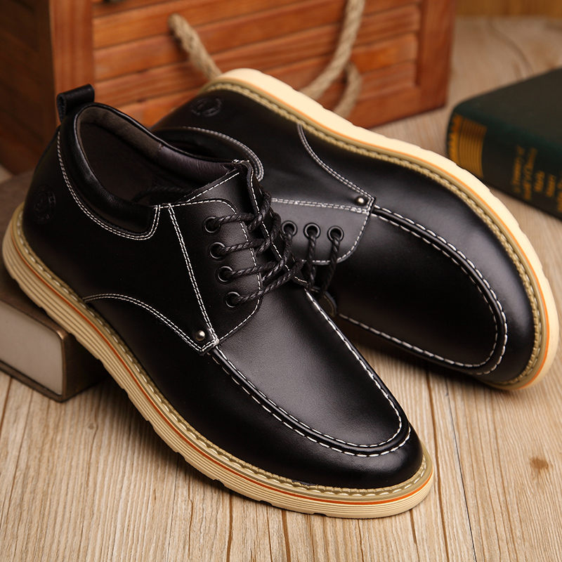 Men's Joker in the autumn casual shoes men's leather increased stealth men high shoes 6CM leather breathable shoes men