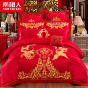 Nanjiren textile wedding four piece red cotton embroidery wedding Liuqibashi cotton bedding set