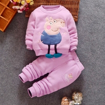 Baby winter suit girls kids wear boys  pig Paige girls under the age of 1-3 and plush padded suit