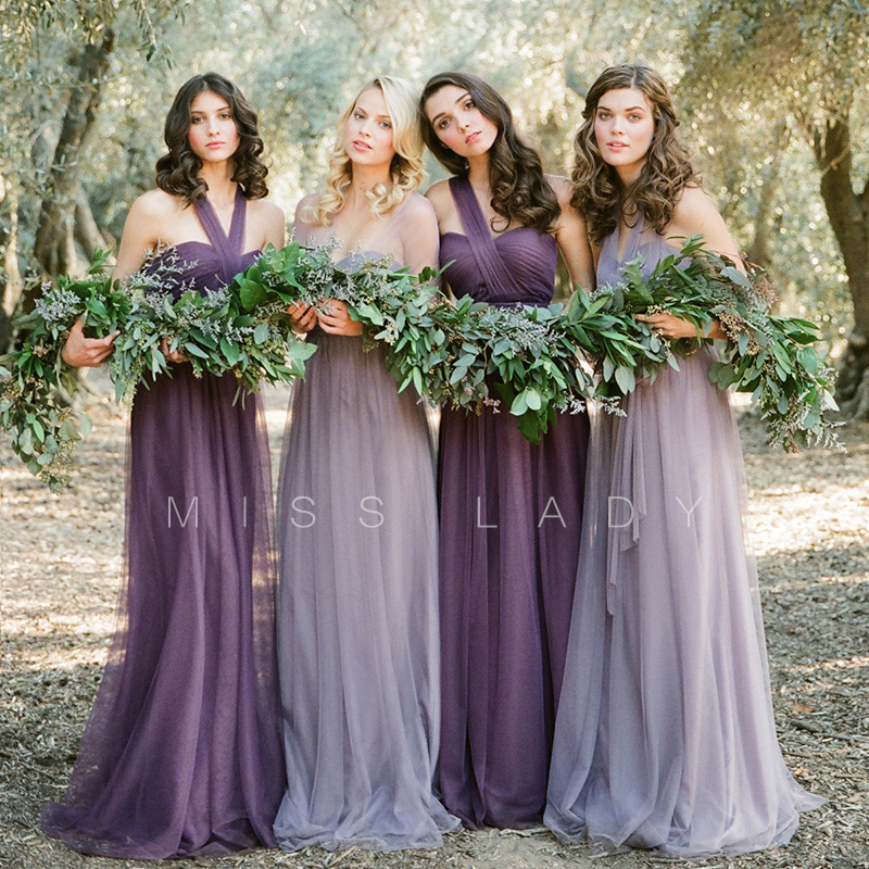 Bridesmaid dresses and sisters regiment Korean 2015 annual meeting of new autumn winter dinner long host purple dress
