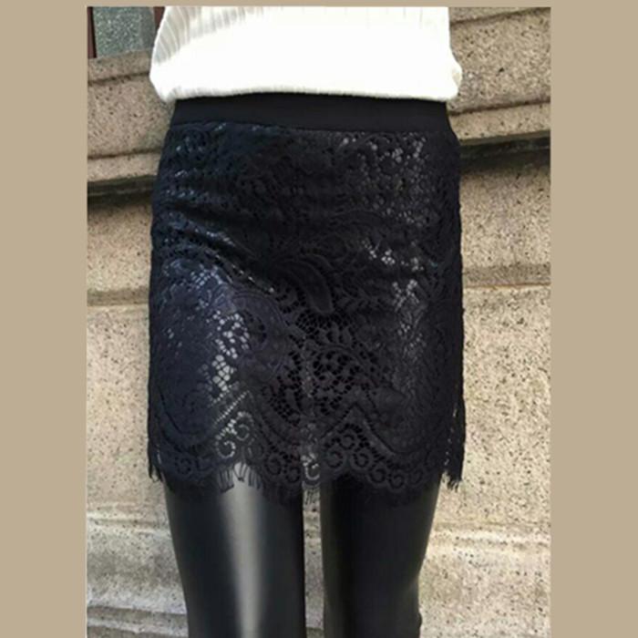 【天天特价】外穿蕾丝假两件皮裤百搭修身显瘦加绒打底裤裙裤女裤