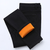 Smoked down nine points tight jeans women and elastic foot plus cotton padded winter warm black high waist trousers
