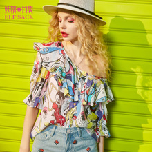Our summer fairy bag 2017 female all-match Crewneck agaric in shirt sleeve shirt