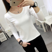 White Long Sleeve T-Shirt women slim and female all-match short shirt blouse T-shirt solid tight T-shirt