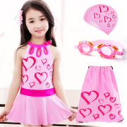 New children's swimsuit, Girl Korean version, one-piece skirt style, big child swim swimsuit, Princess student, Korean girl swimsuit