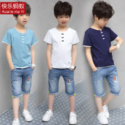 The boy set 2017 new summer children's wear children in the summer of 7 9 casual jeans two piece 10 tide at the age of 12
