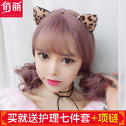 Female hair wig bangs Air Natural Korean egg roll simulation fluffy wave head short curly hair wig