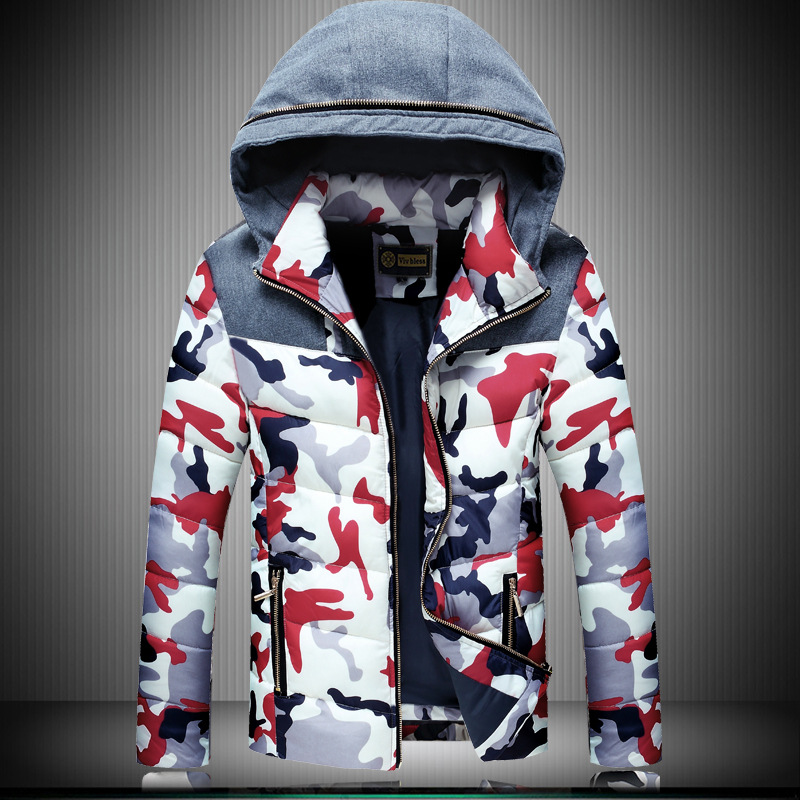 Male youth Winter camouflage coat thick winter coat zipper down Korean men's iron processing