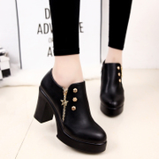 In the autumn of 2017 new Korean female shoe heels thick thick round bottom all-match documentary small leather casual women shoes