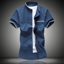 Collar man short fat XL half sleeve shirt Oxford man spinning fat fat inch clothing trend
