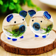 2 a crystal glass lucky pig pig lovers Home Furnishing resin handicraft decoration creative gifts