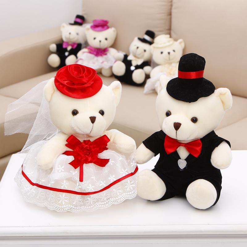 婚车熊公仔车头装饰情侣婚纱熊一对婚庆娃娃花车小熊批零结婚礼物