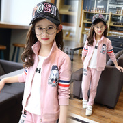 Kids Girls spring suit 2017 new girl age children sweater two sets of large children's sportswear