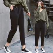 Haren pants female 2017 new spring tide all-match leisure nine Korean students loose wide leg pants summer radish