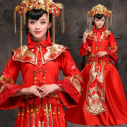 The new bride wedding dress dress show Wo red suit winter toast Vintage cheongsam gown wedding kimono Dragon