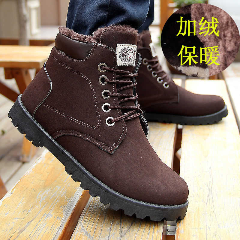 Short tube in winter snow boots men's shoes men's leather and velvet padded warm high casual shoes short boots cotton boots
