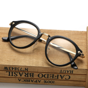 New art-framed glasses ultra light round female metal retro Harajuku fashion men and can be equipped with myopia flat mirror