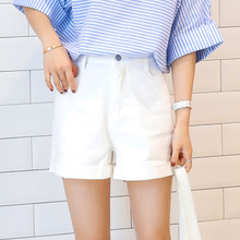 Han Xicai spring 2017 new high waist edge solid wide leg shorts slim jeans hot pants simple.
