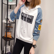 Spring and autumn thin Hoodie female head loose hooded casual sport coat jacket tide Korean Students