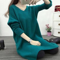 Plus size womens sweaters to make fat sister shirts long fat mm slit at the v neck in autumn and winter plus fertilizer increase 200 kg tide