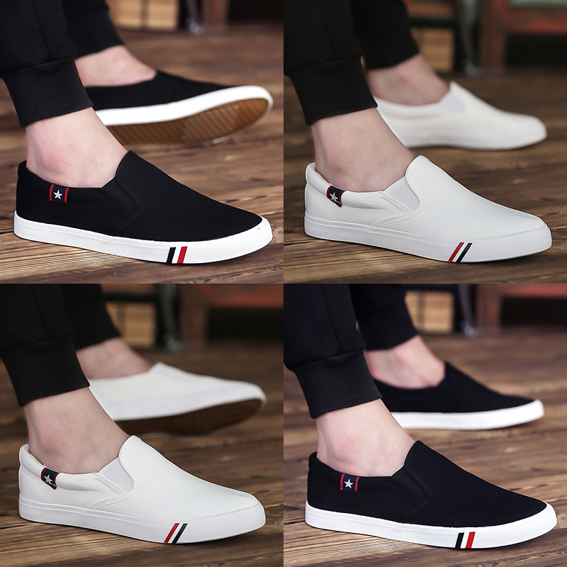 Spring white shoe low pedal canvas shoes men's casual shoes men's shoes shoes a lazy student