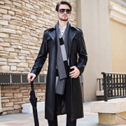 Haining 2017 autumn winter long leather leather coat, big size leather windbreaker, men's suit collar, slim lengthened fur coat