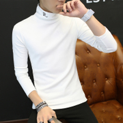 Men's T-shirt long sleeve T-shirt sweater sweater in autumn and winter clothes on the Korean tide Turtleneck Shirt Mens thickening