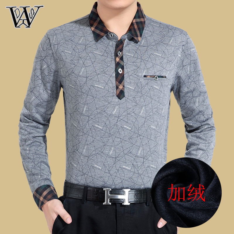 The winter men's long sleeve shirt plus velvet cotton blouse Lapel thickening middle-aged Mens Shirt with Polo Dad