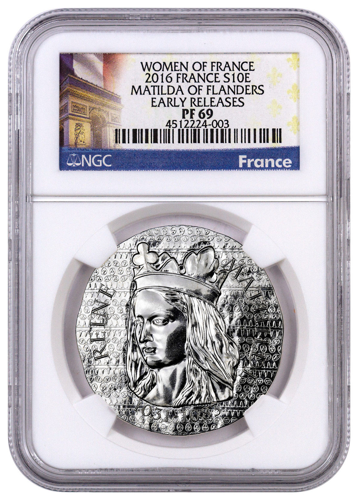 Haining tide France 2016 French female series 2 Queen Matilda silver coins NGC-PF69