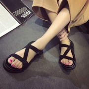2016 spring and summer new summer sandals female flat leather shoes with flat sandals Rome female fish mouth shoes and sandals.
