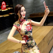 Ran Ting's new spring fashion improved silk dress short size stamp girls daily cheongsam dress
