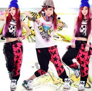 新款时尚街舞爵士舞服装女套装ds演出服套装嘻哈HIOHOP舞蹈练功裤