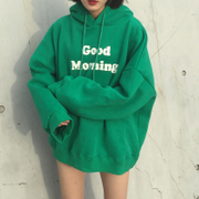 Autumn and winter. Good morning English letters all-match loose hooded sweater coat plus velvet coat tide female students