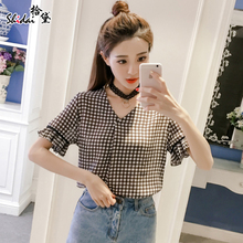 2017 new summer girls Korean junior high school students all-match Plaid printed shirt Lace Chiffon shirt tide