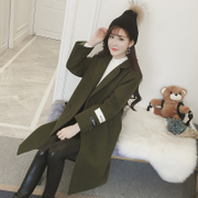 2017 new spring Korean all-match loose cloth coat, long double breasted long sleeved woolen coat tide