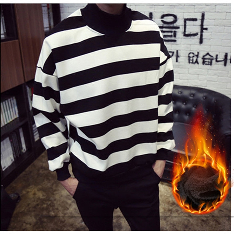 Men's cashmere sweaters and winter sweater striped turtleneck male Korean thick sweater Mens Shirt