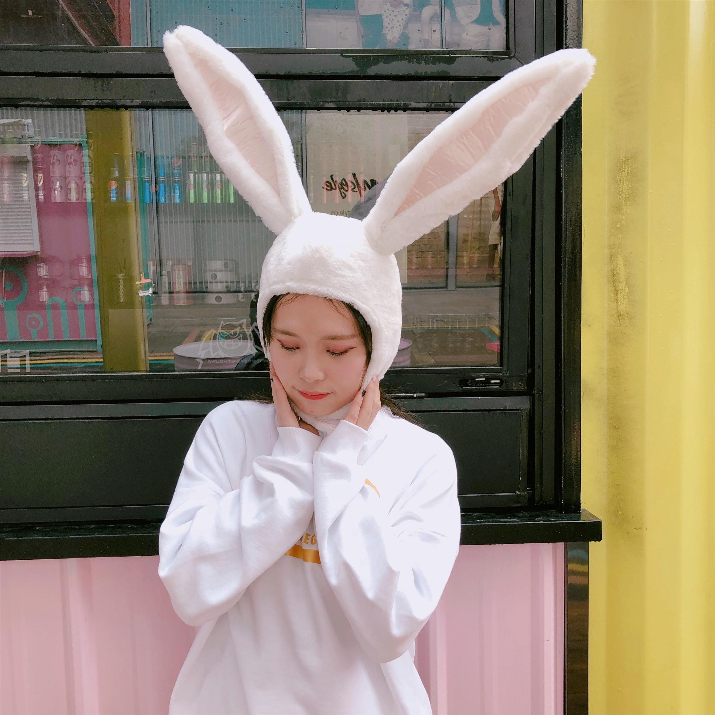 韩风卡通少女粉嫩立体兔耳朵帽子软妹可爱小兔子头套拍照道具