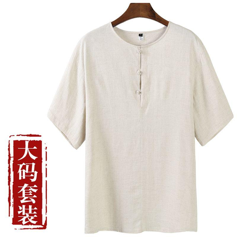 In the old men's linen suit Chinese style cotton casual summer suit male costume costume with Dad