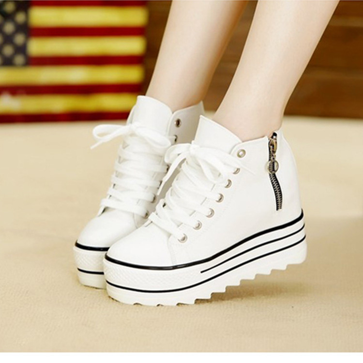 Spring increased thick soled canvas shoes female back tie muffin zipper students white high shoes casual shoes.