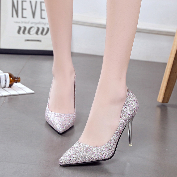 2017, new summer 10cm pointed heels, fine with sexy nightclub etiquette, silver single heel shoes, wedding shoes, women's shoes