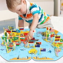 3-6-8 early childhood intelligence educational toy boy baby childrens Montessori recognized the world flag map jigsaw puzzle