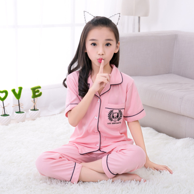 Children's pajamas, spring and summer cotton, small boy, big boy, short sleeve trousers, set of pajamas, suits, children's clothes, home clothes