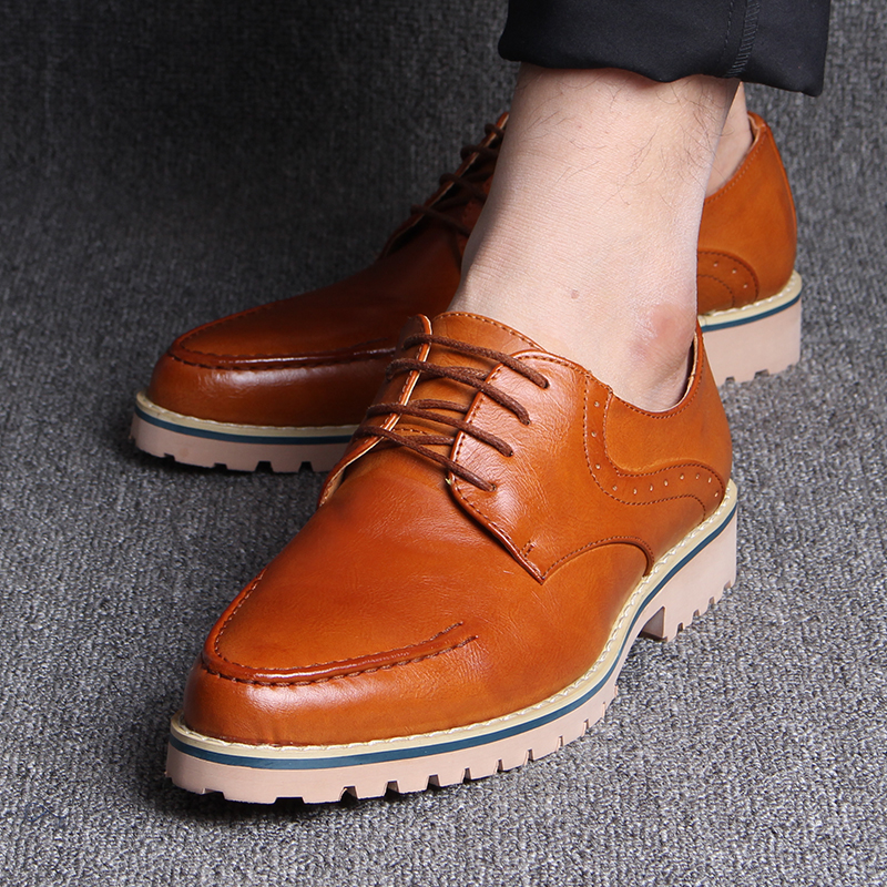 Autumn New England business casual men's youth trend men high shoes leather pointy lace shoes