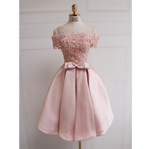 Pink skirt short one shoulder bridesmaid dresses and sisters showman slim slim annual party mini dress